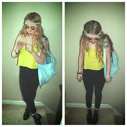 Caitlin Evans - Pucci Bandana, Topshop Neon Cami, Cheap Monday Jeans, Topshop Studded Boots, American Apparel Backpack - Summer Needs To Come Quick