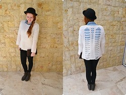 Gabi Gold - The Lot Bolwer Hat, Factorie Cream Jersey, Forever New Ombre Collared Shirt - Vintage winter inspired.