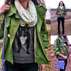 Pauline - Forever 21 Infinity Scarf, Gap Tshirt, Espirit Green Jacket, American Eagle Blue Wash Jeans, Coach Light Purple Crossbody Bag - I find it easy being green