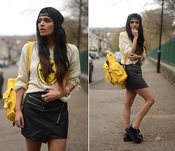 Kavita D - Unif Evil Face Sweater, Style Stalker Leather Skirt, Boy London Snpback Cap, Grafea Yellow Rucksack, Ebay Double Platform Creepers - Unif.