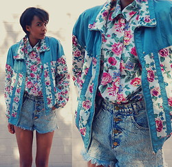 Luna Nova - Vintage Floral Jacket, Vintage Floral Button Down Shirt, Vintage & Diy Acid Wash Shorts - Imma take yo grandma's style