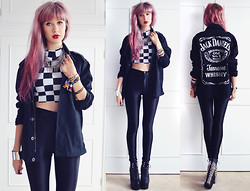 Amy Valentine - She Likes Checkerboard Crop Top, American Apparel Disco Pants, Freestyle Xtreme Jack Daniels Jacket, Jeffrey Campbell Spiked Damsels, Primark Spike Necklace, Ebay Silver Cuff - I'M NOT YOUNG AND AFRAID