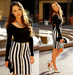 Jessica R. - Nasty Gal Black Crop Top, Nasty Gal Stripe Skirt, Shoedazzle Silver Heels, Merrin And Gussy Silver Necklace - Jailhouse Rock