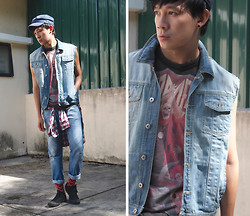 Zack T - Diy Denim Vest, Uniqlo Shirt, Topman Jeans, Ted Baker Socks, Converse Shoes, Dropdead Shirt - DROP*DEAD