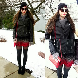 Pauline - Betty Boop Hat, Michael Kohrs Leather Motot Jacket, Romwe Skirt, Forever 21 Bubble Wrap Bag - I forgot this winter look, boop boop dee oops!