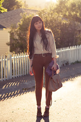 Danielle Payton - Gap Blouse, Vintage Belt, Levi's® Jeans, Madewell Cardigan, Dooney & Bourke Purse, Free People Floral Socks, Clarks Desert Boots - Mixers