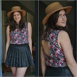 Maria Leal - Made By Me Floral Shirt, Leather Skirt - Wherever I lay my hat, that's my home