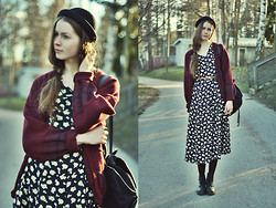 Elina I - H&M Hat, Thrift Shop Cardigan, Seppälä Backpack, Forever 21 Belt, My Mum's Old Dress, Vagabond Combat Boots - Only hate the road when you're missing home
