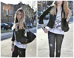Jessica C. - Genetic Denim Jeans, Ashley Rowe Shirt, Poleci Blacer - Black and White