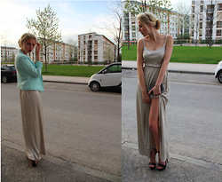 Lotta-Liina Love - Rare London Silver Metallic Slit Maxi - Prom 2k13