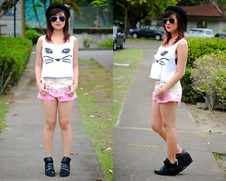 Cheska B - Gifi Clothing Crop Top, Shop Lvst Ombre Shorts, People Are Wedge Sneakers - Summer Hues