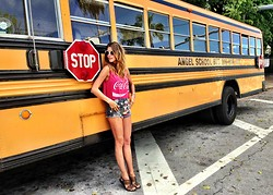 Martha Graeff - Forever 21 Coca Cola Tee, Ralph Lauren Shorts - THE ANGEL SCHOOL BUS
