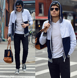 Adam Gallagher - Number Lab Jacket, White V Neck, Ray Ban Aviators, Similar Here  > Black Skinnys, Similar Here  > Bag, Converse Chucks Hi Top, Armani Exchange Watch - Fight club