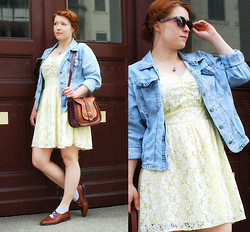 Mona Mur - His Jeans Jacket, Vintage Brown Leather Shoes, Atmosphere Yellow Lace Dress, Vinatage Leather Bag - Blue jeans and blue socks