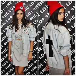 THE LOT ♥ - Vintage Studded Demin Jacket With Cross Patch, Self Service Cut Out Dress, Self Service Eyeball Beanie - Got Your Back