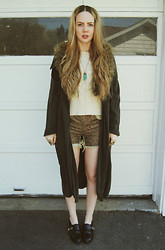 Stacey Belko - Sheinside Sweater, Minimarket Trench Coat, Tentative Decisions Necklace, Urban Outfitters Shorts, Shoemint Shoes - Cut me off.