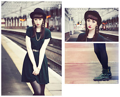 Rach Roberts - Topshop Green Jersey Skater Dress, Urban Outfitters Gold/Black Leopard Belt, Black Bowler Hat, Dorothy Perkins Long Gold Geometric Earrings, Cosy Rosy Vintage Store Gold Chain, Vintage Green Doc Martin's - Gold + green