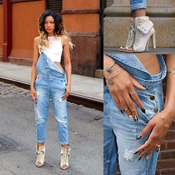 """Slim"" Shay D - Topshop Mesh Crop Vest, Zara Denim Overalls, Alexander Wang Freja - Turn My Swag On"