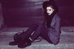 Violet Ell - Thrift Store Hat, Earrings, Thrift Store Leather Backpack, Underground Creepers - 17.02.2013