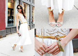 Rachel Lynch - Zerouv Aviator Sunnies, Sheinside Grecian Dress, Miss Kl Clear Purse, Jeffrey Campbell Malice Shoe, Vivienne Kelly Gold Grecian Bangles - Grecian Vibes
