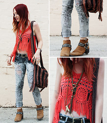 Casey Kaufman - Vintage Top, Thrifted Jeans, Euphoria Bag, Vintage Boots, My Salvation Antler Necklace - 24