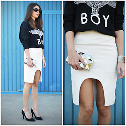 STYLISSIM . - Sheinside Sweatshirt, Choies Pencil Skirt, Zara Clutch - CUT OUT SKIRT + BOY SWEATSHIRT