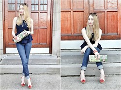 Jessica C. - J Brand Jeans, Asos Top, Yves Saint Laurent Wedges, Vintage Clutch - Canadian Tuxedo in Montreal