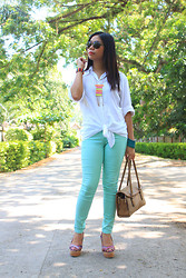 Alex Zeta - Forever 21 Mint Green, Boyfriend Polo, Liz Claiborne Beige Hangbag, Primadonna Tribal Wedges, Neon Accessories - Autumn & Goodbyes