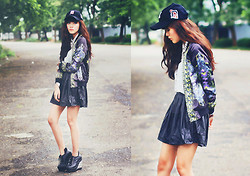 Sonia Eryka - Vintage Baseball Hat, Sheinside Satin Printed Jacket, Forever 21 Leather Skirt, June And Julia Shiny Wedges - The A-Team