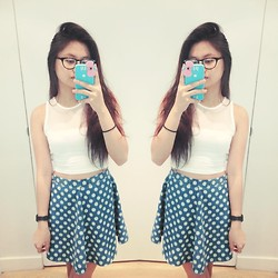 Lea Esguerra - Topshop White Top, Topshop Polkadots Skater Skirt - Something different