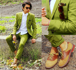 Denny Balmaceda - H&M Forest Green Pants, H&M Forest Green Sport Coat, Bass Saddle Shoes, Hook+Albert Hook And Albert Laces, Embellish Eyewear - Recycle.