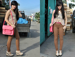 Fifi Yau - Hardware Pink Satchel, La Dulce Gold Necklace, New Look Brown Jeans - Hello, May