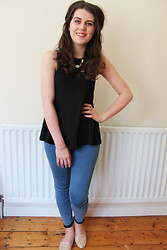 Chloe W - Topshop Skull Necklace, Asos Black Swing Top, Topshop Joni Jeans, Topshop Studded Flats - A dream of spring