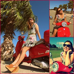 Sofia Vagueiro - Mango Flower Print Dress, Etxart&Panno Leather Wedges, Jimmy Choo Star Studs Sunglasses - I put some flowers on my Vespa!