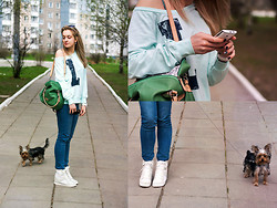 Anastasia Roshchenya - Vero Moda Sweater, Asos Sneakers, Dog - My walk with the Dog
