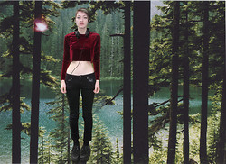 Freya C - Thrifted Red Velvet Crop Top, Jayjays Black Skinny Jeans, Ebay Creepers - And the sun made love to the moon