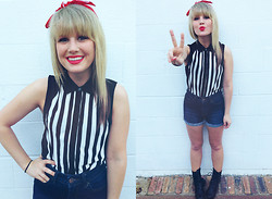 Whitney Paige - Urban Outfitters American Flag Bandana, Silence + Noise Black & White Stripe Top, Bdg High Waisted Jean Shorts, Call It Spring Black Combat Boots - Peace & Stripes