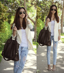 Joan K. - Ray Ban Sunglasses, Zara Blazer, Splendid Tee, Givenchy Bag - I'm back