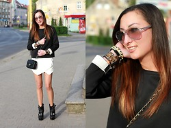 Ula H - Zara Neoprene Sweatshirt, Zara Shorts, Burberry Boots, Chanel Bag, Calvin Klein Sunglasses, Hermës Bangle - Black & white