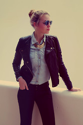 Laura Mk - Mango Jeans Blouse, Zara Leatherjacket, Mango Coated Jeans, H&M Necklace - Simple denim-leather combination