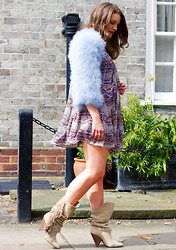 Monica Beatrice Welburn - Alexander Mcqueen Pale Blue Jacket, Isabel Marant Smock Dress, Isabel Marant Fringed Booties - Feather