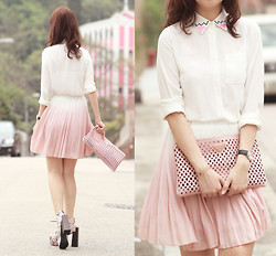 Mayo Wo - Yesstyle Embellished Collar Shrit, Romwe Gradient Pink Skirt, Choies Floral Booties - Don't fade away