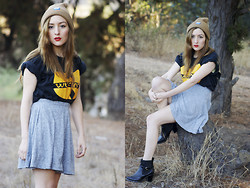 Constanza   Pamela F - Wu Tang Clan Tee, Topshop Grey Specke Skater Skirt, Skateshop Brown Beanie, Chelsea Boots - Lucidity