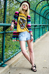 Olivia Taylor - Volcom Cardigan, Volcom Shorts, Bc Footwear Shoes, Feather Hearts Tee - Summertime Casual - Volcom Girl
