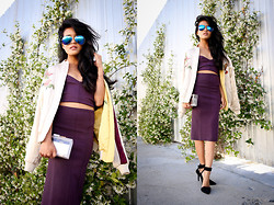 Olivia Lopez - The Caravan Aviators, Alexander Wang Liya Pumps, Alice And Olivia Clear Lucite Clutch, Marciano Knit Bralette, Marciano Skirt - The Bomber