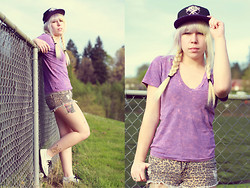 Ariel Martin-Reed - Flying Coffin Cap, American Apparel Acid Washed, Pacsun Animal Print Shorts, Tuk Creepers - Purple People Eater;