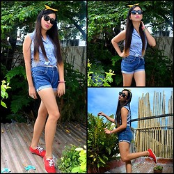 Dalz Salas - Forever 21 Crop Top, Uniqlo Denim Shorts, Keds Red Sneakers - Think Positive ^_^