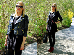 Sara Zgrzebniak - Mango Jacket, H&M Dress, Vj Style Bag, H&M Sunnies, Promod Boots - Back to black