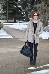 Sartorial Sidelines - Unknown Faux Fur Trimmed Cardigan, Asos Suede Boots, Pins And Needles Over Sized Purse, Asos Wet Look Leggings - Cardigan-Style