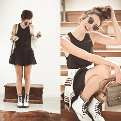 Elle-May Leckenby - Nowistyle School Girl Pleated Skirt, Dr. Martens Original White Docs, Zerouv Vintage Inspired Shades - Keep'n it fresh